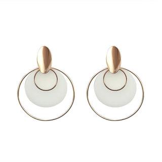 JewelMaze White Acrylic Dangler Earrings - 1314002