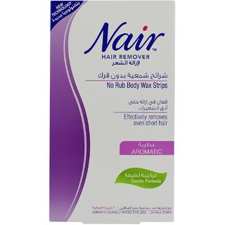 Nair Hair Remover No Rub Body Wax Strips Aromatic - 20 Wax Strips