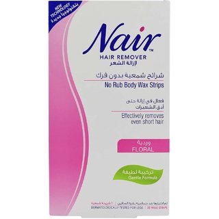 Nair Hair Remover No Rub Body Wax Strips Floral - 20 Wax Strips