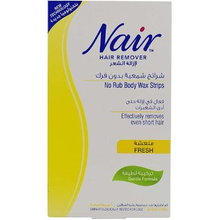 Nair Hair Remover No Rub Body Wax Strips Fresh - 20 Wax Strips