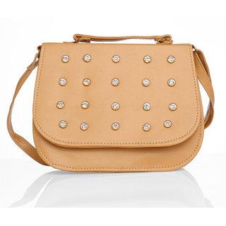 Lady queen  beige sling bag