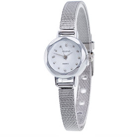 ITHANO Fashion Bracelet Silver Small Round Dial Women Ladies Analog Quartz Wrist Watch
