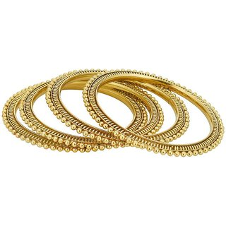 Shostopper Traditional Gold Plated Bangle Set of 4 For Women