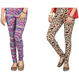 DeVry  Fresh Take  New Desings Printed  Multi colours  Leggings (Pack Of 2 Pc Set) DRY505