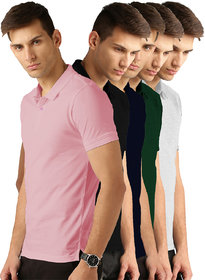 Van Galis Fashion Wear Multicolored Polo Tshirts For Men's-Pack of 5