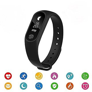 Lucrane Bluetooth M2 Fitness Band With Heart Rate Sensor Smart Band And Fitness Tracker (Black)