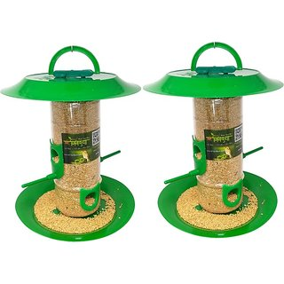 Amijivdaya medium bird feeder with hut (pack of 2)
