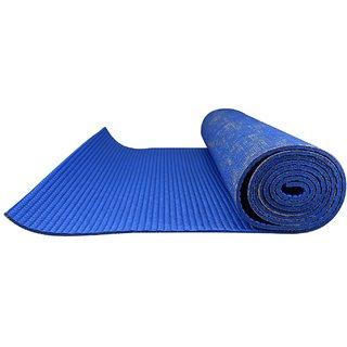 Eco-friendly Anti-Slip Textured Yoga Mat 8mm Thick : 6 Feet x 2 Feet with Free Bag - Dark Blue