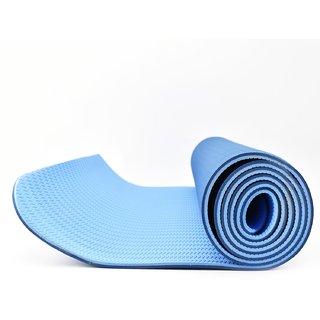 Eco-friendly Reversable TPE Yoga Mat 6mm Thick : 6 Feet x 2 Feet with Free Bag - Dark Blue/Blue