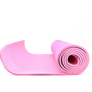 Eco-friendly Reversable TPE Yoga Mat 8mm Thick : 6 Feet x 2.3 Feet with Free Bag - Dark Pink/Light Pink