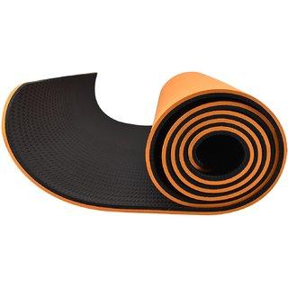 Eco-friendly Reversable TPE Yoga Mat 8mm Thick : 6 Feet x 2.3 Feet with Free Bag - Orange/Black