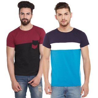 Stylouge pack of 2 round neck t-shirt  MAROON BLACK & SKY 3 PANEL