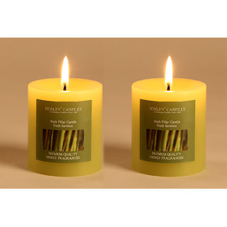 Buy Hosley Set Of 2 Fresh Bamboo 3inchs Pillar Candles Online Get