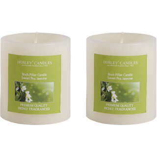 Buy Hosley Set Of 2 Sweeet Pea Jasmine 3inchs Pillar Candles Online