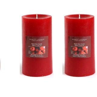 Hosley Set of 2 Apple Cinnamon 6Inchs Pillar Candles