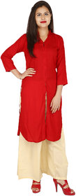 Fashion Ethinicia Straight Red  Color Rayon Kurti for Women
