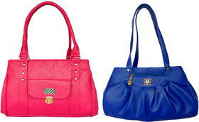 SHOULDER BAG FOR LADIES BY ALL DAY 365(1 PINK  1 BLUE)(