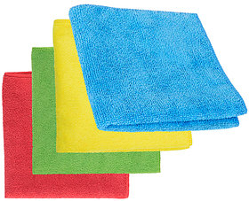 4-Piece Microfibre Towel Cloth Set Car And Bike Cleaning Household Dusting, Scratch Free Cleaning - Multi-Color, 40X40Cm