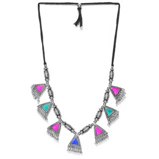 Cemaya Enamel  Ethnic Rope Necklace For Women(Silver-Multi Colored)