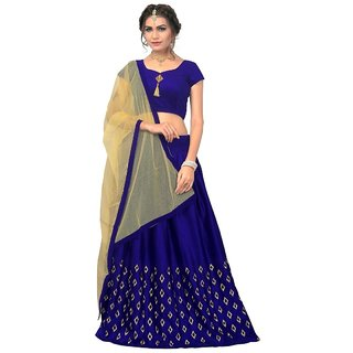 Designer Blue Color Pure Velvet material Embroidered Semi-Sttiched Lehengha (RFKAJUBlue)