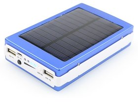 Solar Mobile Phone Charger Portable with LED Lamp, Flashlight and Dual USB out Ports