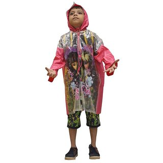 Indian Boutique Printed Polyster Full Sleeve Pink Rain Coat For Boys