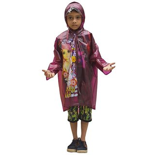 Indian Boutique Printed Polyster Full Sleeve Dark Violet Kids Rain Coat For Kids