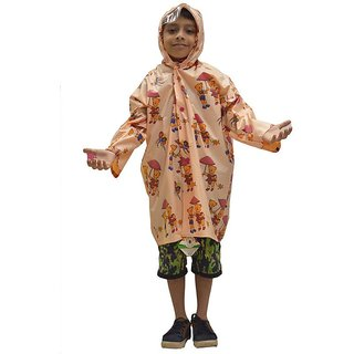 Indian Boutique Printed Polyster Full Sleeve Peach Rain Coat For Kids