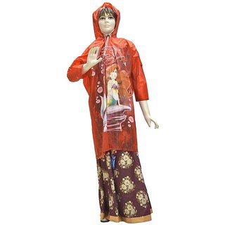 Indian Boutique Printed Polyster Full Sleeve Red Rain Coat For Kids