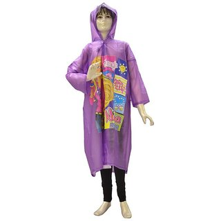 Indian Boutique Printed Polyster Full Sleeve Purple Rain Coat For Kids