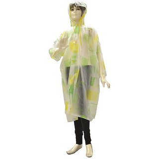 Indian Boutique Green Printed Polyster Full Sleeve Multicolor Rain Coat For Kids