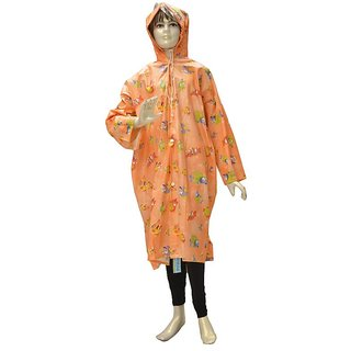 Indian Boutique Printed Polyster Full Sleeve Pitch Rain Coat For Boys