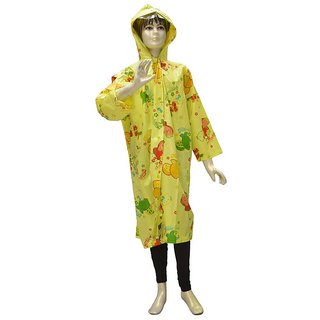 Indian Boutique Printed Polyster Full Sleeve Light Green Rain Coat For Boys