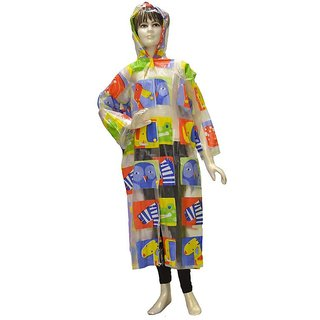 Indian Boutique Printed Polyster Full Sleeve Multicolor Rain Coat For Boys