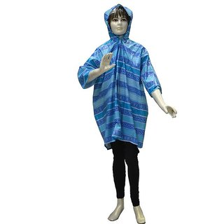 Indian Boutique Printed Polyster Full Sleeve Blue Rain Coat For Boys