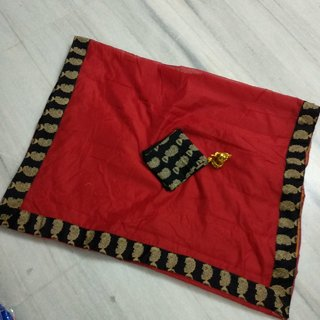 Vibha Red Color Chanderi cotton Plain Saree -ZMK-01