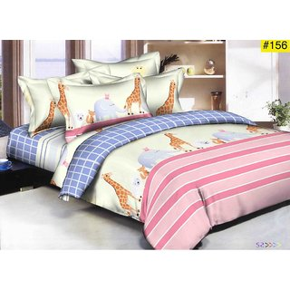 Choco King Giraffe Supersoft King Size Double Bedsheet 90108 Pack of 1+ 2 Full size Pillow Cover