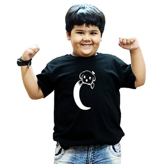 Heyuze 100% Cotton Printed Black Half Sleeve Kids Boys Round Neck T Shirt With Alphabet C Dog Design