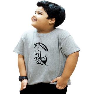 Heyuze 100% Cotton Printed Grey Half Sleeve Kids Boys Round Neck T Shirt With Horse Design