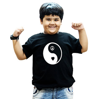Heyuze 100% Cotton Printed Black Half Sleeve Kids Boys Round Neck T Shirt With Peace Design