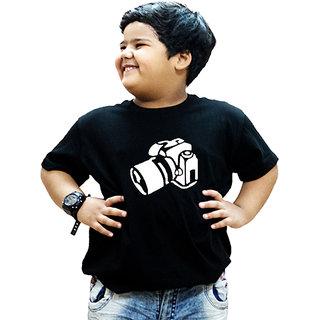 Heyuze 100% Cotton Printed Black Half Sleeve Kids Boys Round Neck T Shirt With Photographer Design
