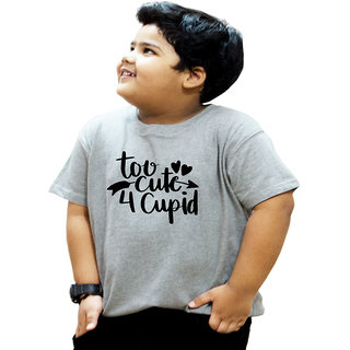 Heyuze 100% Cotton Printed Grey Half Sleeve Kids Boys Round Neck T Shirt With Too Cute Quote Design