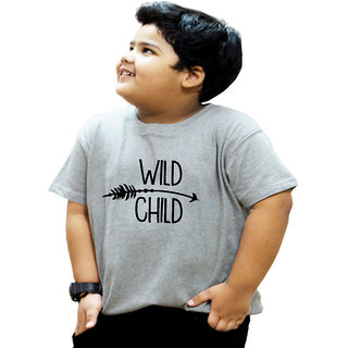 Heyuze 100% Cotton Printed Grey Half Sleeve Kids Boys Round Neck T Shirt With Wild Child Quote Design