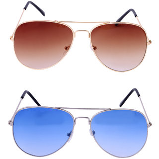 ce0afa7b8b9 Buy Amour Propre Brown Lense Golden Frame   Half Blue Aviator Combo Online  - Get 83% Off