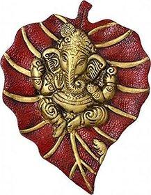 Ganesh idol  Wall Hanging Idol on Metal Leaf - (Red)