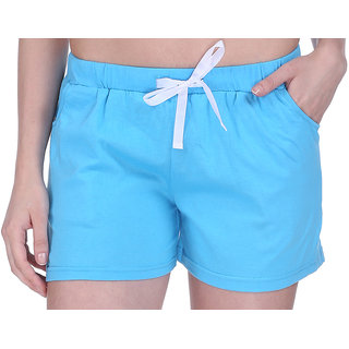 Women Cotton Night Shorts in available Light Blue Color Plain Casual Boxer Regular Fit M (Medium) Size Short Pant with 2 Side Pockets & Drawstring with Elastic Waistband by Semantic