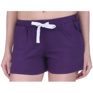 Women Cotton Night Shorts in available Purple Color Plain Casual Boxer Regular Fit M (Medium) Size Short Pant with 2 Side Pockets & Drawstring with Elastic Waistband by Semantic