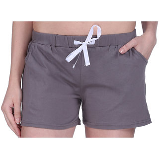 Women Cotton Night Shorts in available Grey Color Plain Casual Boxer Regular Fit M (Medium) Size Short Pant with 2 Side Pockets & Drawstring with Elastic Waistband by Semantic