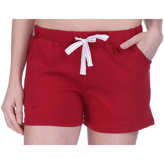 Women Cotton Night Shorts in available Maroon Color Plain Casual Boxer Regular Fit M (Medium) Size Short Pant with 2 Side Pockets & Drawstring with Elastic Waistband by Semantic