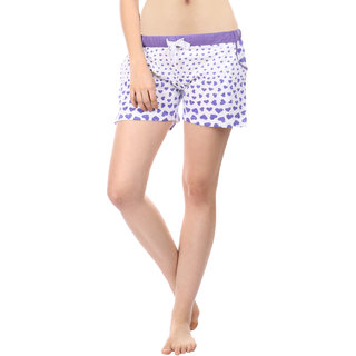 Women Cotton Night Shorts in Purple Color Printed Casual Boxer Regular Fit M Size Short Pant with 2 Side Pockets & Drawstring with Elastic Waistband by Semantic